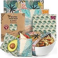 Reusable Beeswax Wraps Assorted 9 Packs - Eco-Friendly Reusable Food Wraps, Biodegradable, Zero Waste, Organic…