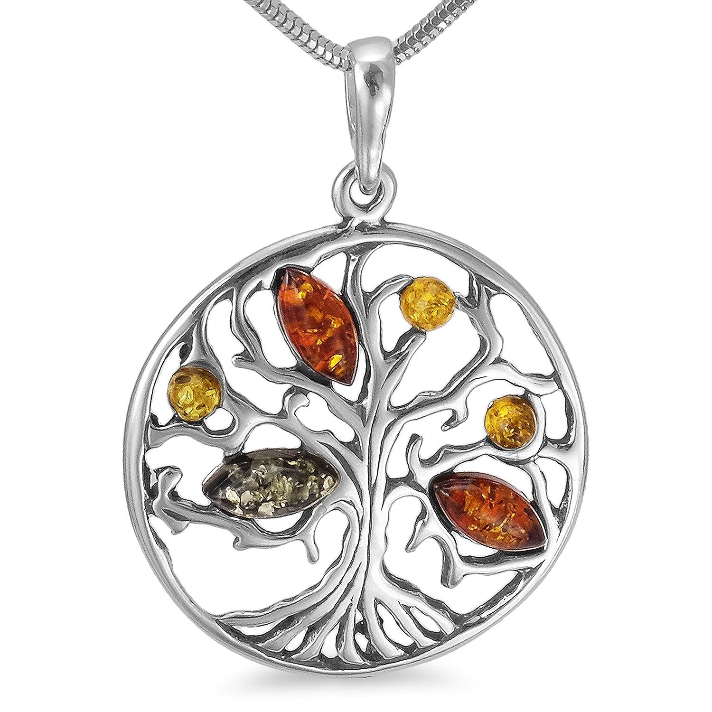 Bernsteinschmuck Lebensbaum Weltenbaum Anhänger 925er Silber Bernstein Schmuck Amulett Medaillon #b1347 tado 001501201347