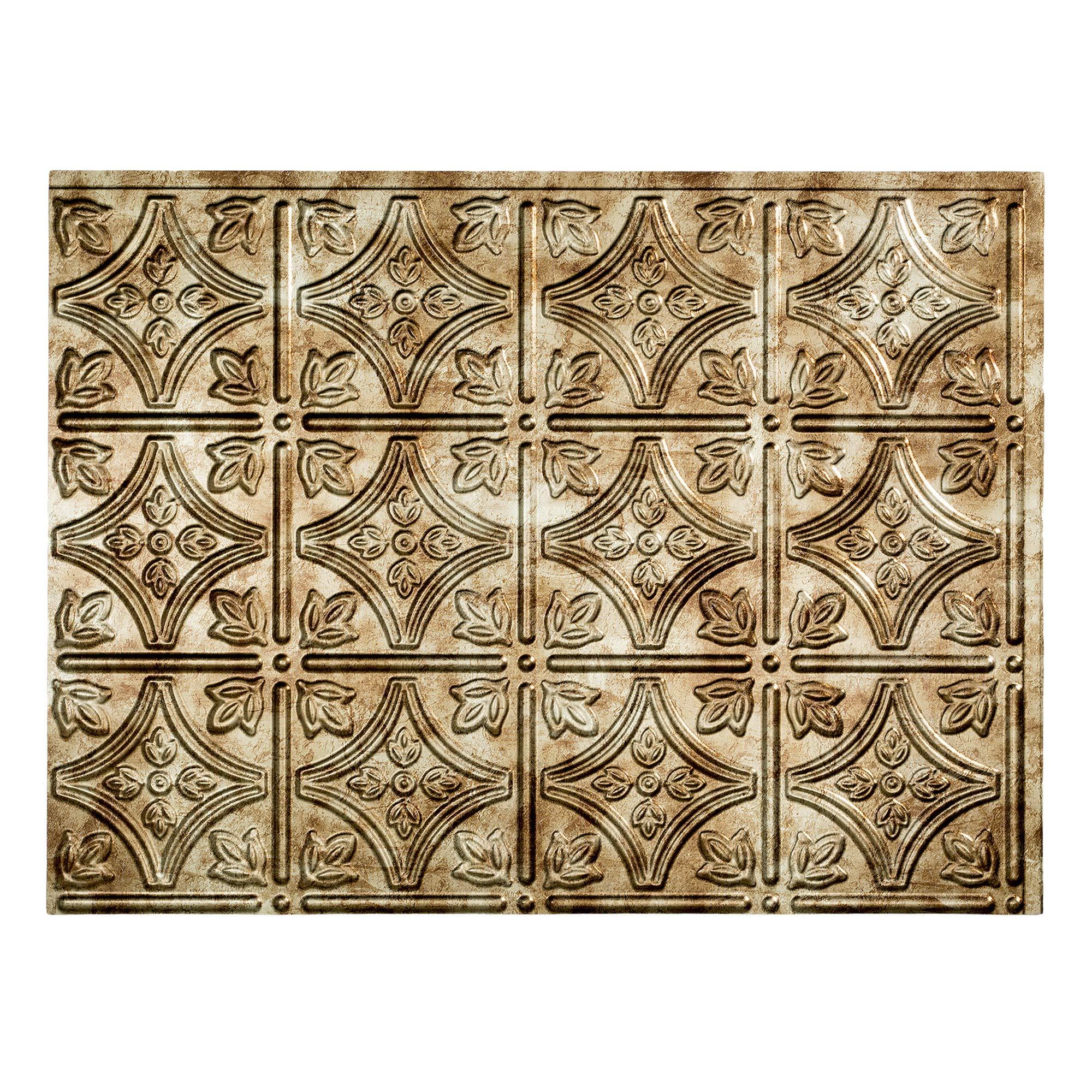Fasade Easy Installation Traditional 1 Bermuda Bronze Backsplash Panel for Kitchen and Bathrooms (18'' x 24'' Panel)