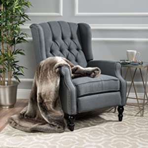 Christopher Knight Home Elizabeth Tufted Accent Chair in Charcoal Gray, Single Recliner Armchair, Elegant and Comfortable