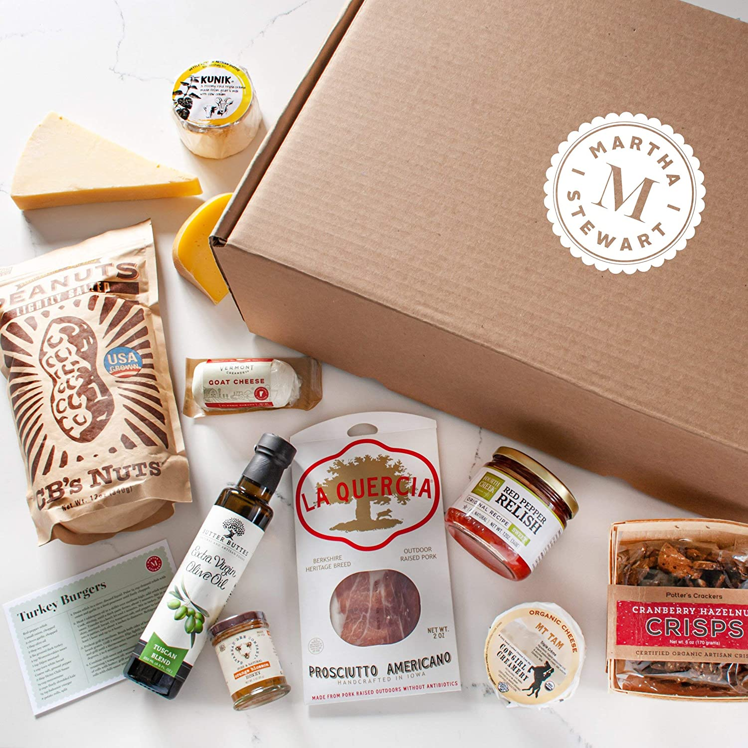 Martha Stewart American-Made Makers Gourmet Gift Basket - Filled With Award-Winning Cheeses, Fruity Olive Oil, Dry-Cured Charcuterie, Rich Honey, Nuts and Crackers