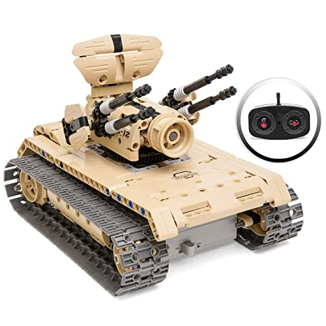 Best Choice Products 453-Piece RC Military Battle Tank Building Bricks Toy  Kit w/ Rechargeable Battery (Tan)