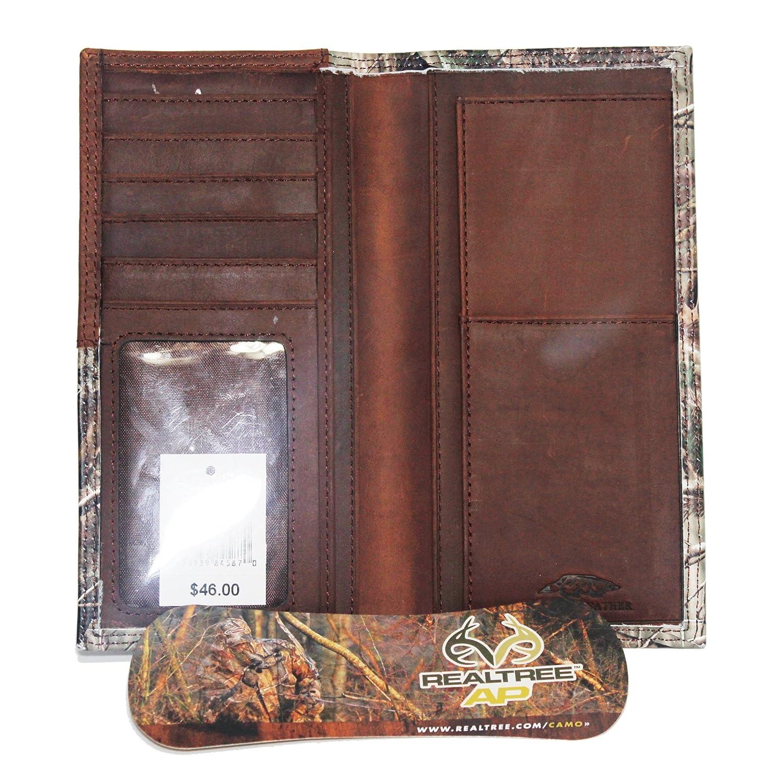 Custom Badger Skull and Crossbones Long Checkbook Realtree AP Camo Wallet