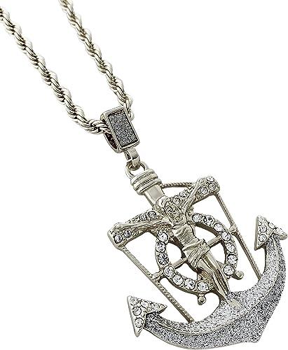 "925 Sterling silver Nautical Crucifix Jesus  Pendant 24/""Chain  Necklace"