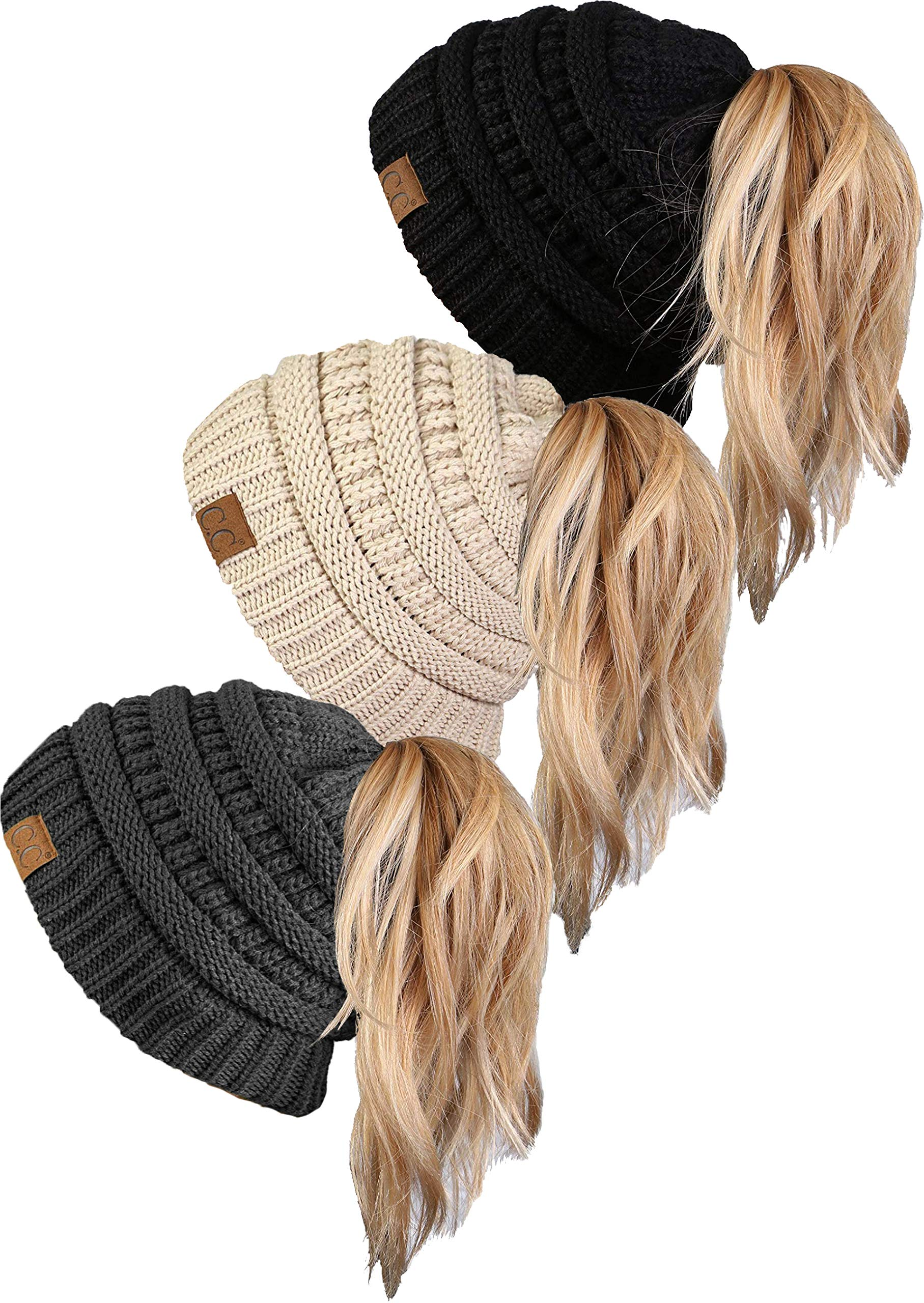 BT-6020a-3-066070 Messy Bun BeanieTail Bundle - Black, Beige, Charcoal (3 Pack) by Funky Junque