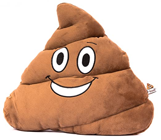 HAUFI® COJÍN Emoji – Almohada EMOTICONES Caca Whatsapp - Microfibra - 28 cm - La Verdadera Moda del Año. Producto Original