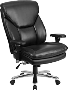 Flash Furniture HERCULES Series 24/7 Intensive Use Big & Tall 400 lb. Rated Black Leather Ergonomic Office Chair with Lumbar Knob