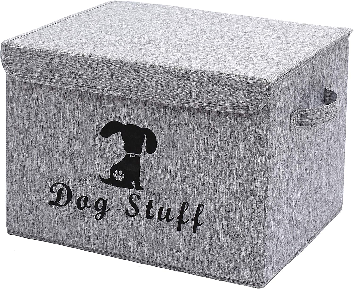 Geyecete Linen Dog Storage Basket Bin Chest Organizer with Lid and Handles - Perfect for Organizing Dog Toys, Dog Clothing, Storage Trunk