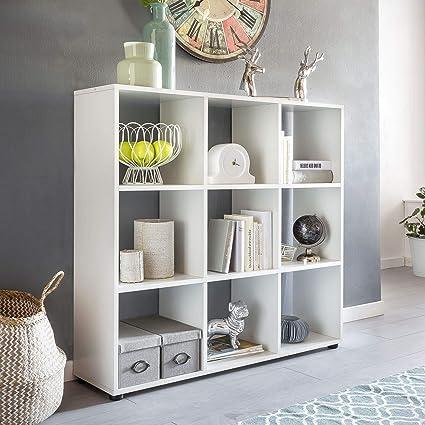Wohnling Diseño Estante Zara con 9 Compartimentos Color Blanco 108 x 104 x 29 cm |