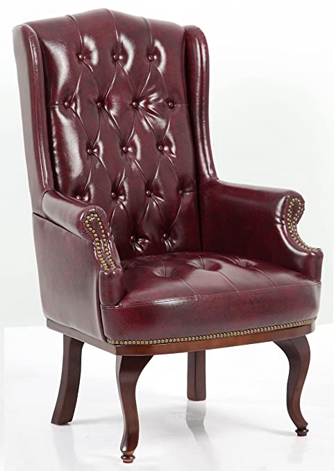 Angel Home Leisure New Queen Anne Fireside High Back Wing Back Leather Chair Chesterfield Type Armchair Black Ox Blood