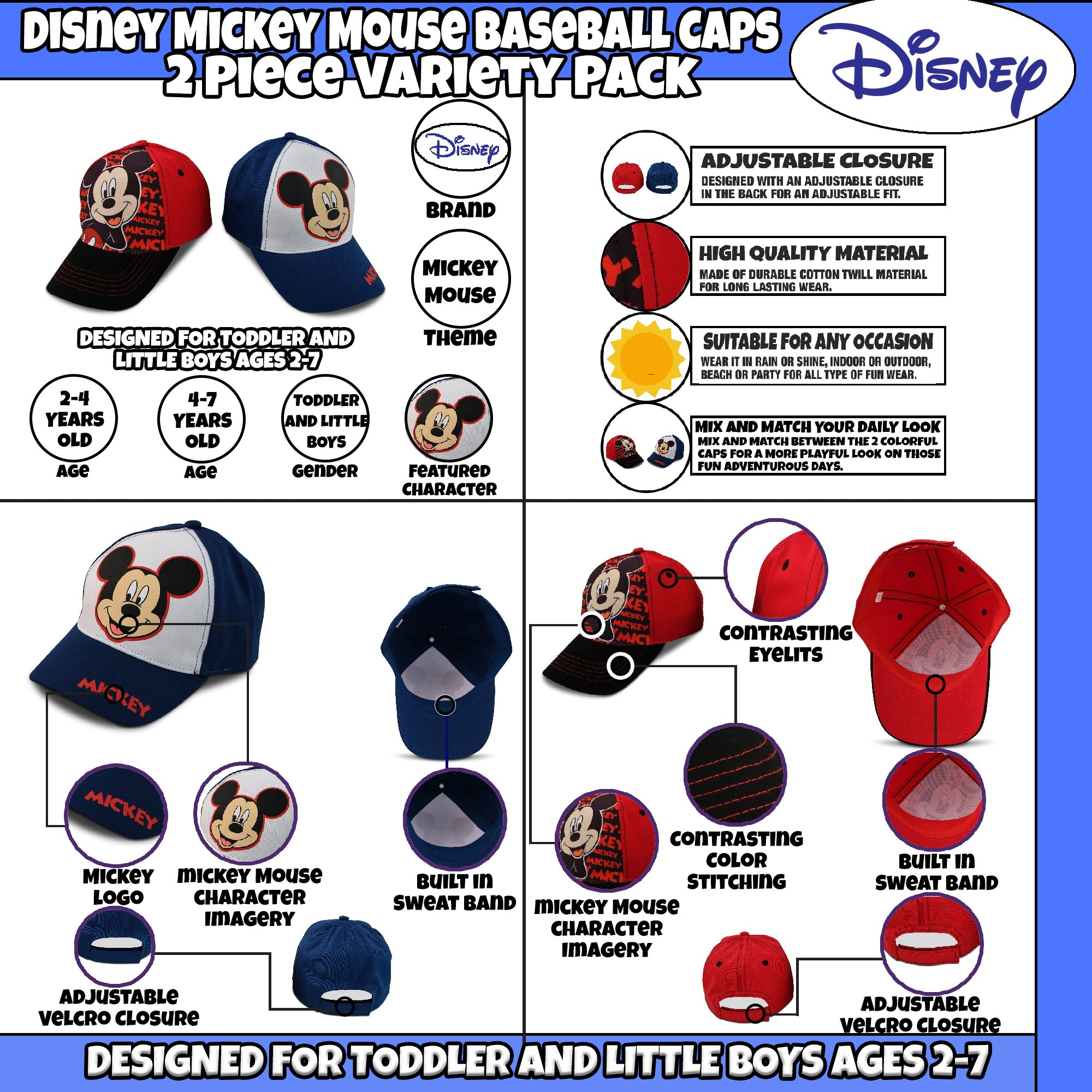 Disney Little Boys Assorted Character Cotton Baseball Cap, 2 Piece Design Set, Age 2-7 (Toddler Boys – Age 2-4 – 51 cm, Mickey Mouse Design – 2 Piece Set) by Disney (Image #3)