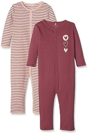 897c78814 Name It Baby Girls  Nmfnightsuit 2P Dry Rose Noos Sleepsuit ...