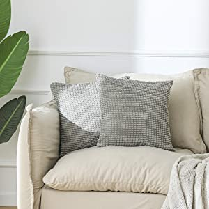 WF WU FANG 2pc Corduroy Throw Pillow Covers Corn Striped Decorative Pillow Covers Cushion Covers Pillowcase Home Decor Decorations for Sofa Couch Light Grey 18x18 Inch/45x45cm
