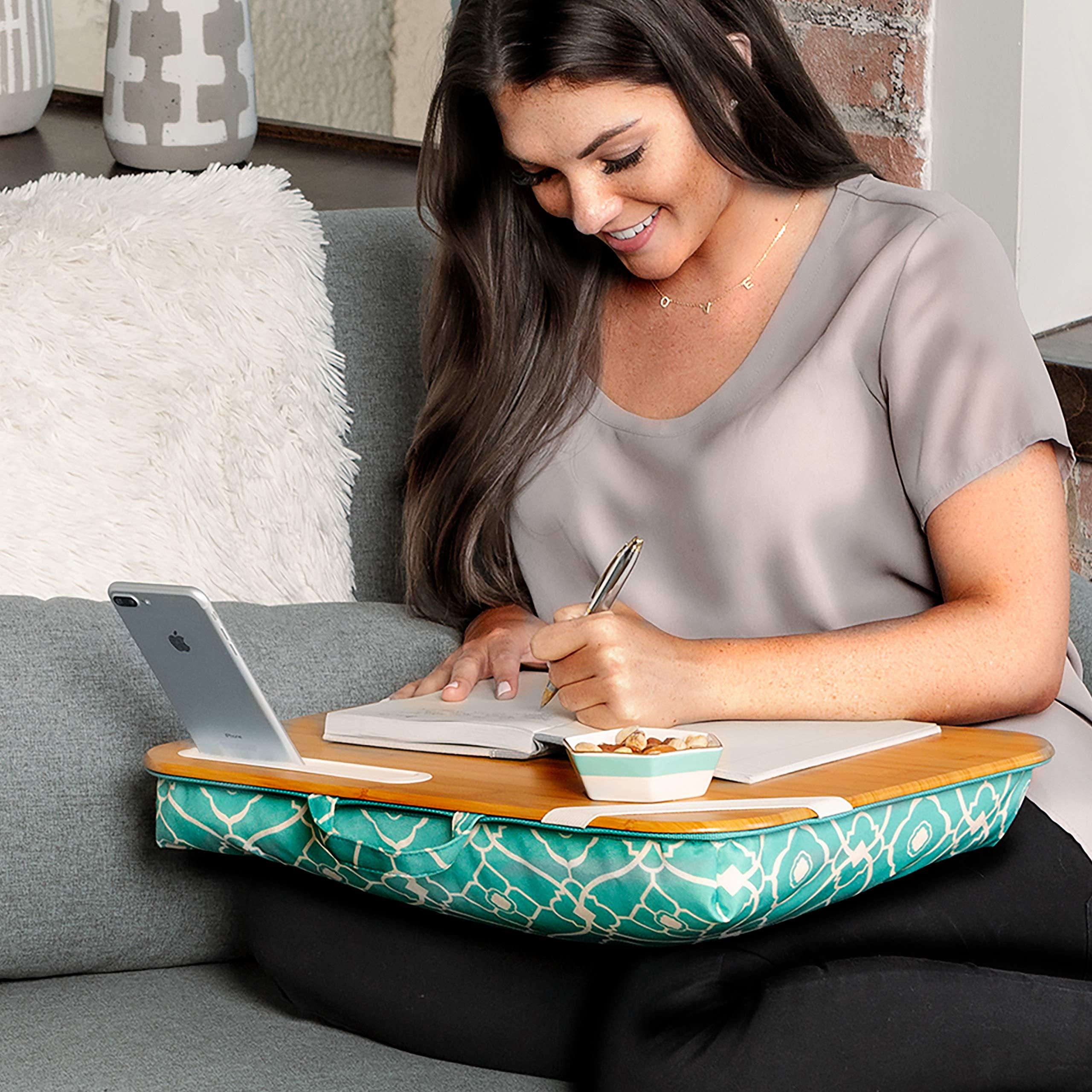 LapGear Designer Lap Desk - Aqua Trellis (Fits up to 15.6'' Laptop) - Style #45422 by Lap Desk (Image #4)