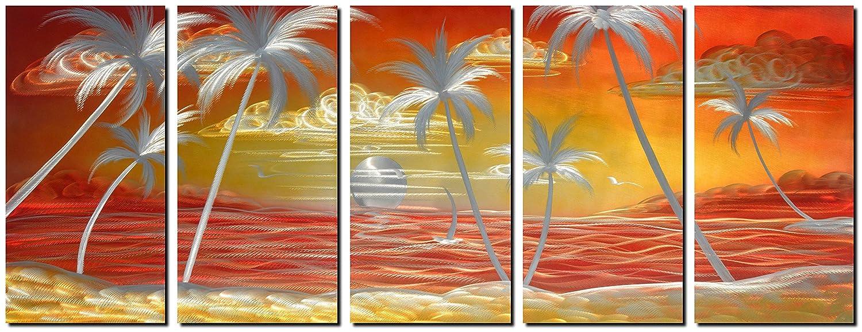 Amazon.com: Handmade Metal Wall Art with Tropical Ocean Landscape ...