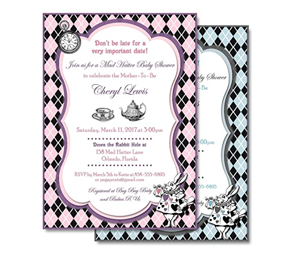 Mad Hatter Baby Shower Invitation Girl Or Boy