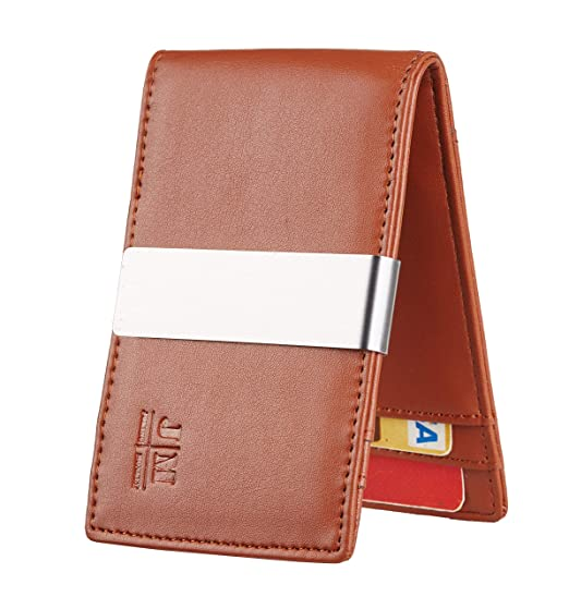 f68147bf767a JM Minimalist Slim Leather Wallet Money Clip Credit Card Holder for Men  RFID Blocking