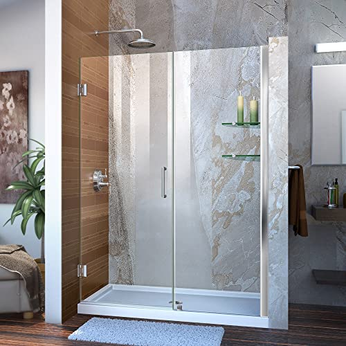DreamLine Unidoor 53-54 in. W x 72 in. H Frameless Hinged Shower Door with Shelves in Chrome, SHDR-20537210S-01