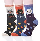 Velice Womens Thick Wool Winter Socks Soft Thermal Warm Cozy Fuzzy Cold Weather Socks 5 Pairs