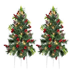 Best Choice Products Set of 2 24.5in Pre-Lit Pathway Christmas Trees Decor w/LED Lights, Berries, Pine Cones, Ornaments