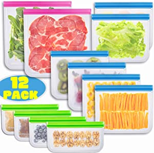 Reusable Storage Bags - 12 Pack BPA FREE Freezer Bags Food Container Ziplock for Sous Vide Liquid Lunch Snack Sandwich Marinate Meat Fruits Cereal Zip Lock Size Gallon Large Plastic Containers