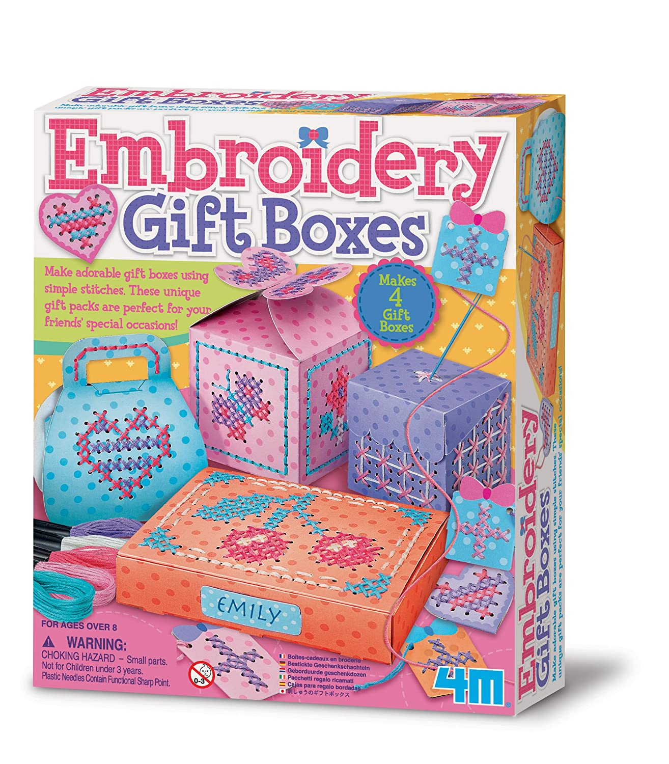 4M Make Your Own Embroidery Gift Boxes - Simple Sewing Kit - New for 2015 Creative - Arts & Crafts Present Gift Idea For Treat, Reward or Pocket Money Age 5+ Girl Girls Kids Children Child