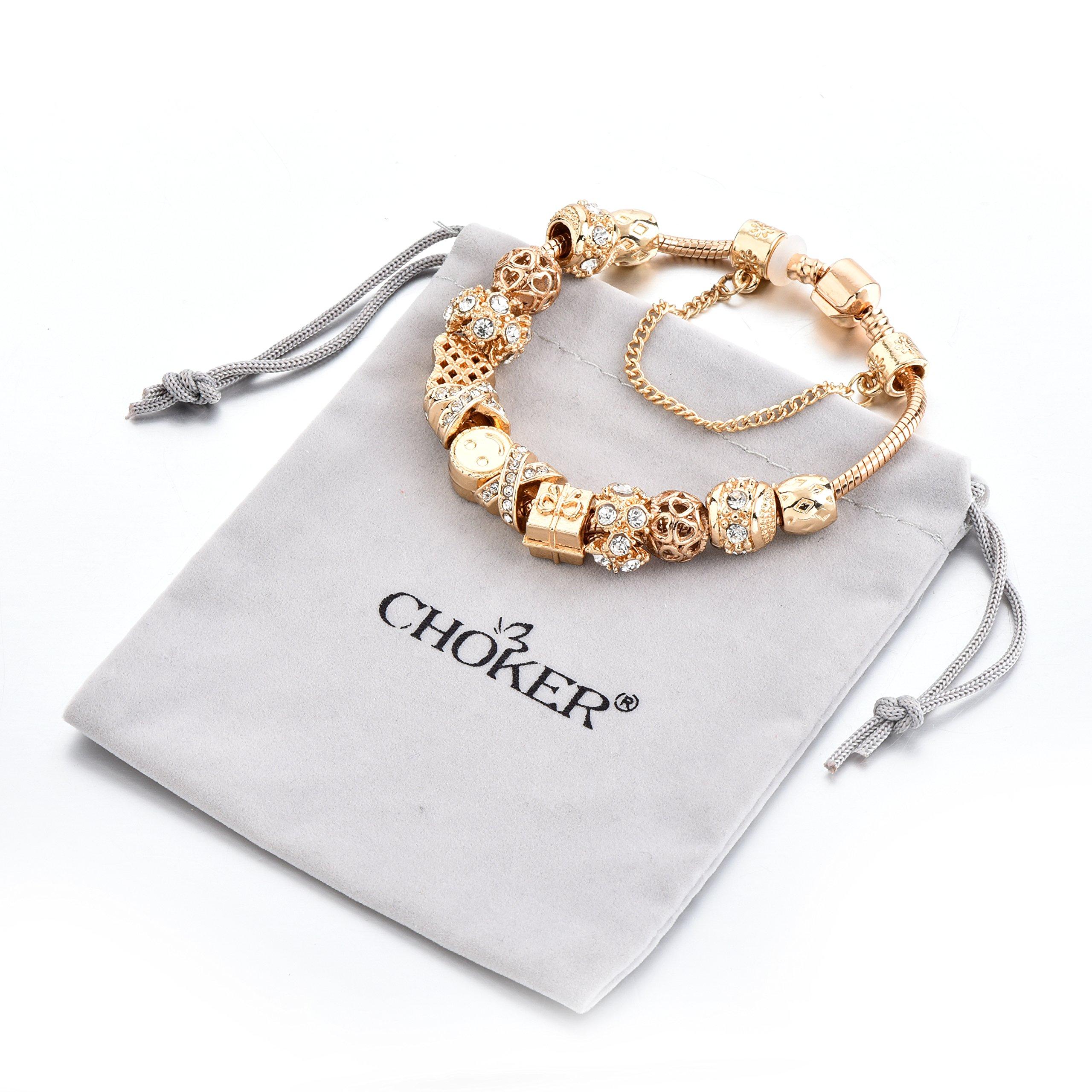 Gold Tone Bracelet Snake Chain Heart Smiley Beaded Charm Bracelets Rhinestone Bangles for Women Teen Girls