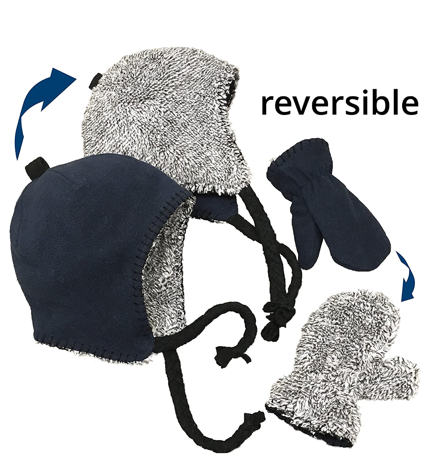 N'Ice Caps Little Kids and Baby Reversible Hat and Mittens Fleece Skater Set 2881-RE