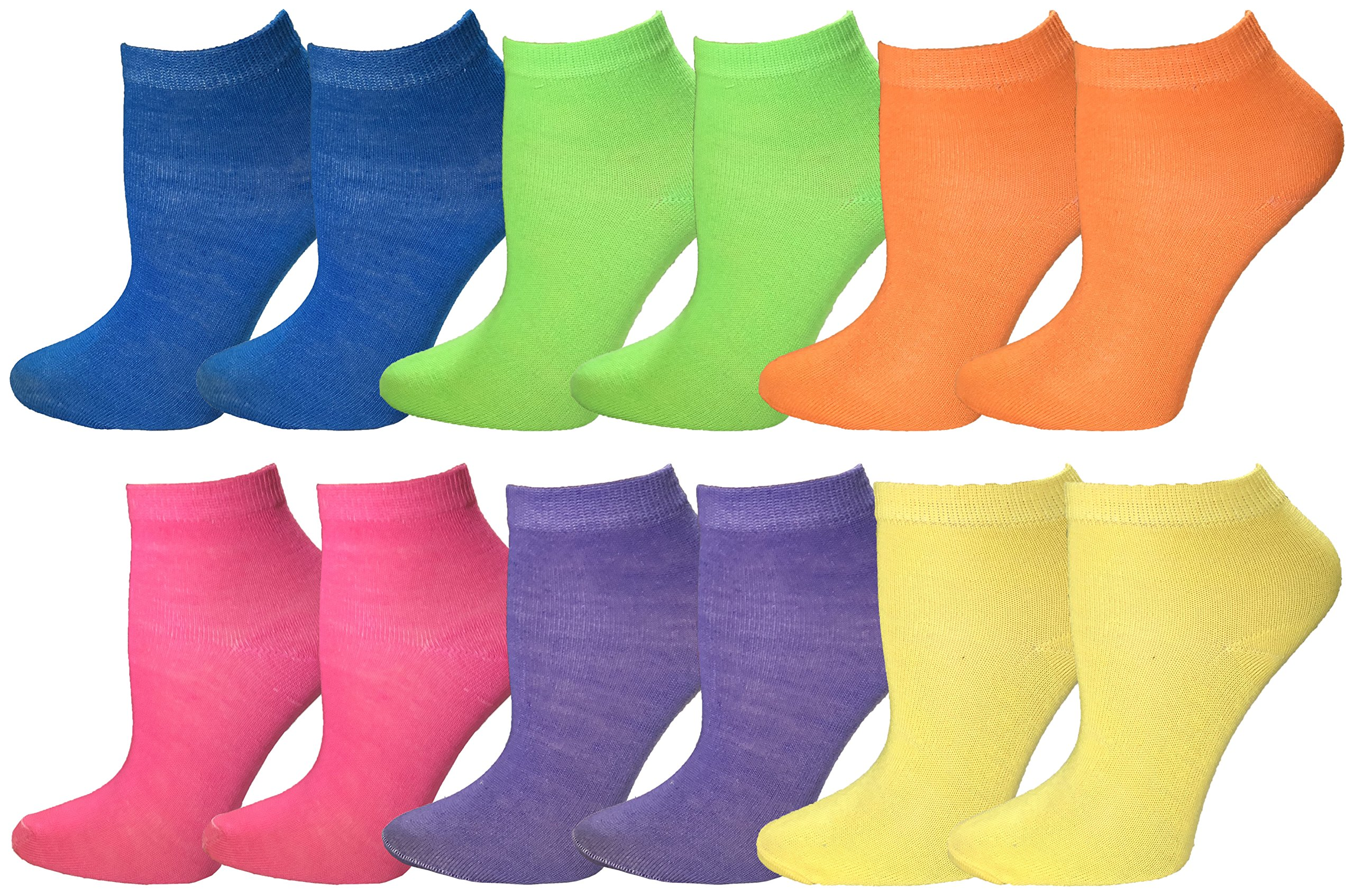 Kids No Show Ankle Socks, 12 Pairs Patterned Colorful Cute Athletic Fun Sport Sock, Boys & Girls (Neon, 4-6 (Child Shoe Size 7-10))