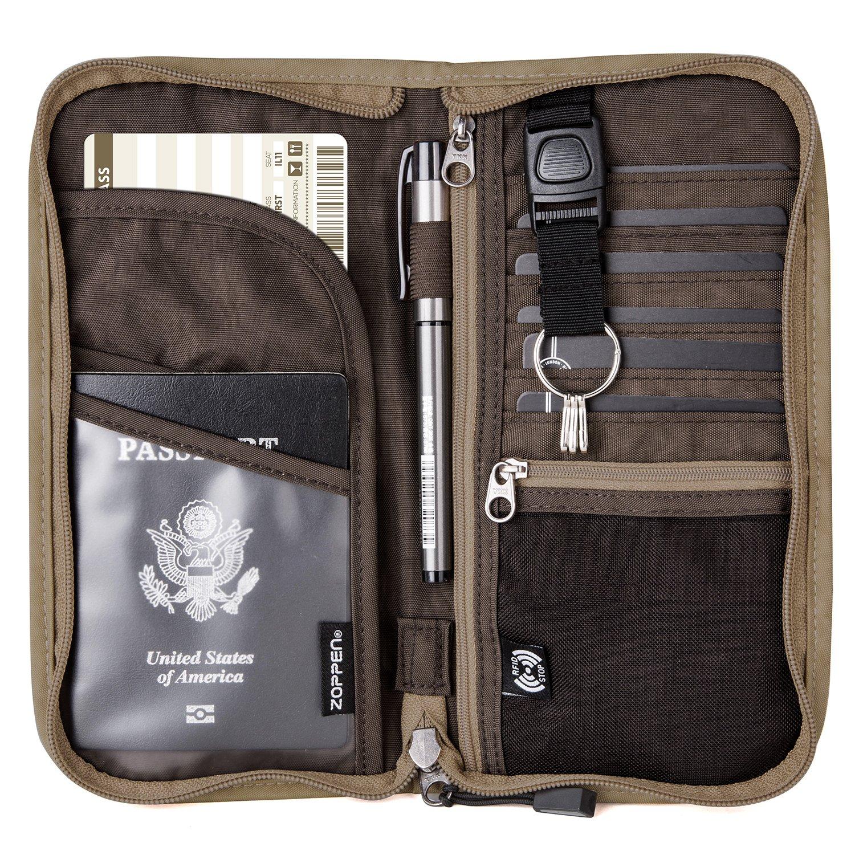 Zoppen RFID Travel Passport Wallet & Documents Organizer Zipper Case with Removable Wristlet Strap Black Travel Zipper Wallet