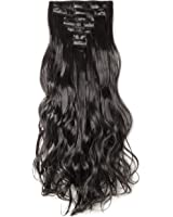 """S-noilite17""""24"""" Long Curly Wavy Clip in on 8 Pieces Full Head Set Hair Extensions 8pcs Hairpiece Extension Many Colors for Girl Lady Women"""