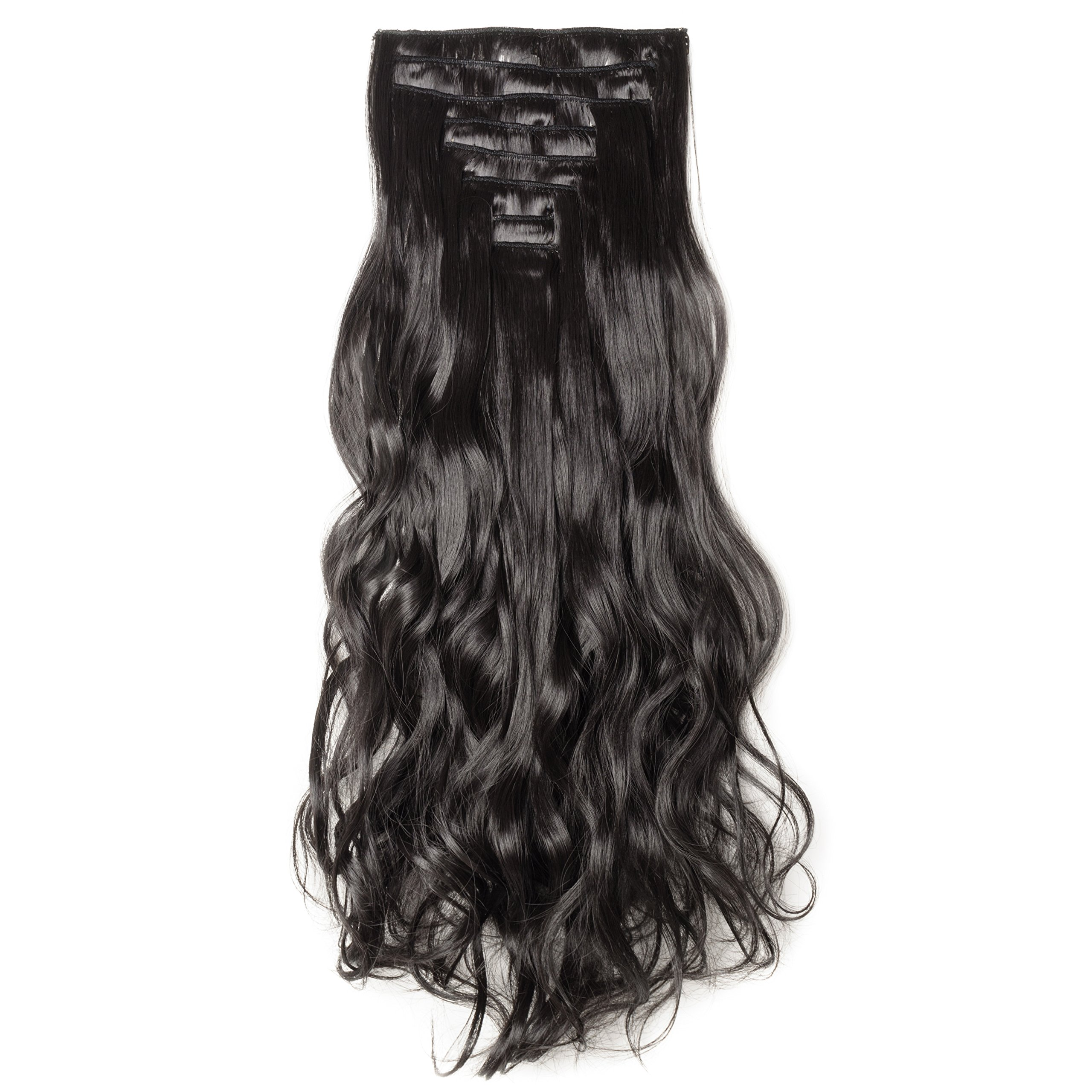 Amazon S Noilite17 Long Curly Wavy Dark Brown Clip In On 8