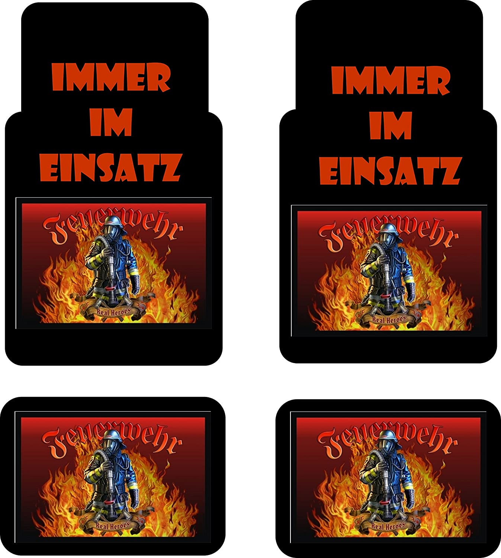 Creativ Deluxe Auto Fussmatten Bedruckt 4er Set Feuerwehr Fussmatte Für Auto Bedruckt Mit Motiven Auch Individuelle Gestaltung Küche Haushalt