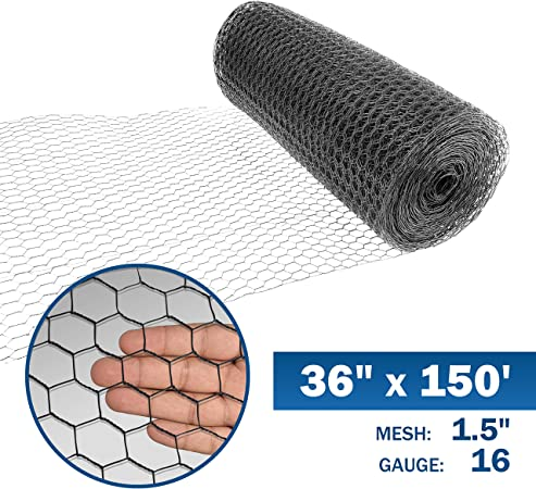 4 ft. x 150 ft. 20 Gauge Black Vinyl Coated Poultry Netting with 1 inch Mesh