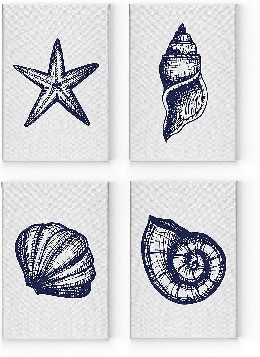 Amazon Com Seashells Navy Blue Illustration White Background Nautical Decor 4 Panel Canvas Print Set Coastal Wall Art Home Decor Stretched Ready To Hang 100 Handmade In The Usa 12x8 X4 Posters Prints