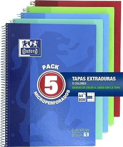 Oxford Classic - Pack de 5 Cuadernos Microperforados, Tamaño Único, Multicolor: Amazon.es: Oficina y papelería