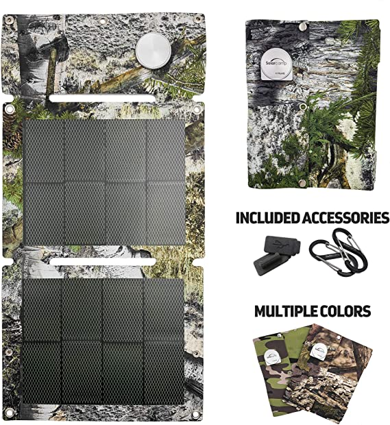 Camping Gear Solar Panel Charger Best Solar Accessories Backpack USB Portable for Cell Phone iPhone Xs XS Max XR X 8 7 Plus iPad Samsung Galaxy Travel Accessories Pack Black