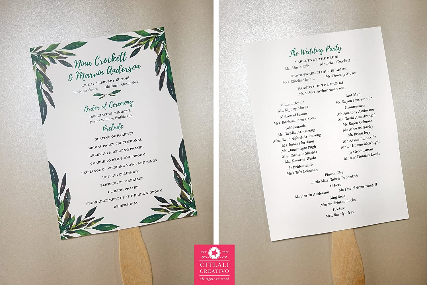 10qty Garden Green Foliage Wedding Programs with Wooden Handle
