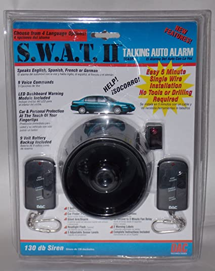 Amazon.com: SWAT 2 130dB Talking Car Alarm w/ 2 Remotes Easy Install ...