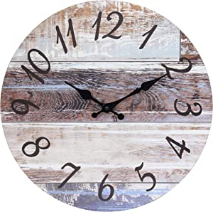 Stonebriar Vintage Farmhouse 14 Inch Round Hanging Clock, Battery Operated, Rustic Wall Decor for The Living Room, Kitchen, Bedroom, and Patio, Brown
