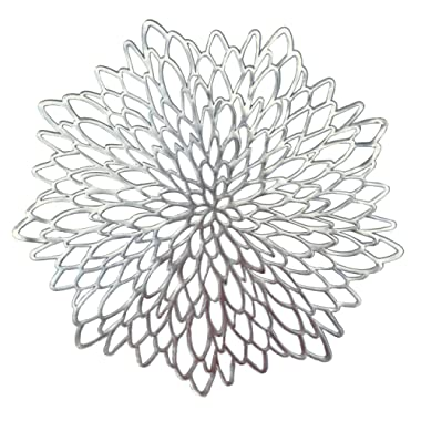 Occasions 10 Pack Pressed Vinyl Metallic Placemats/Charger / Wedding Accent Centerpiece (10 pcs, Round Silver Leaf)