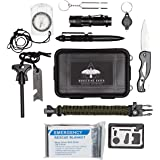 Survival Kit - Outdoor survival gear for EDC, Camping, Hiking, Bushcraft [tactical pen, military knife, survival bracelet, emergency blanket, tactical flashlight] Prepper Supplies, Everyday Carry