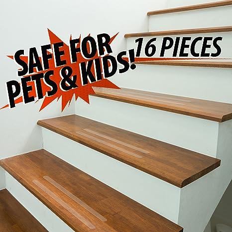 Escalera transparente antideslizante y peldaños de seguridad en el suelo. Para uso en interiores y