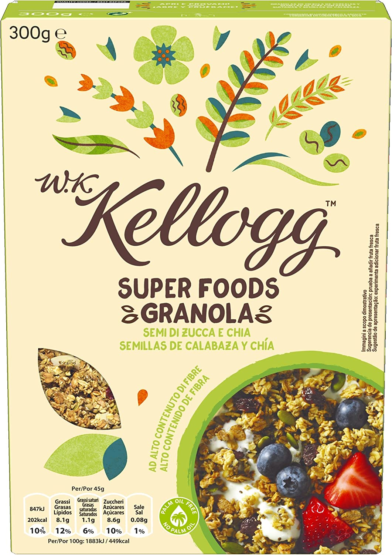 Kelloggs Cereales Super Foods Chía - 2 Paquetes de 300 gr - Total ...