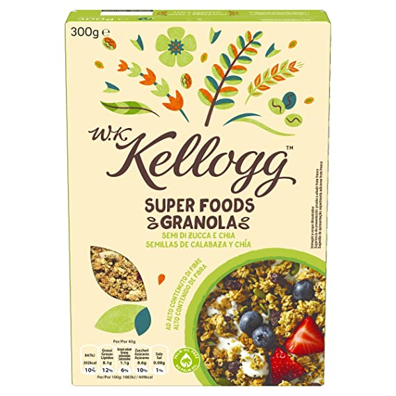 Kelloggs Cereales Super Foods Chía - 2 Paquetes de 300 gr - Total: 600 gr
