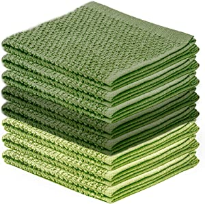 DecorRack 8 Pack Kitchen Dish Towels, 100% Cotton Wash Cloth, Luxurious Soft, 12x12 inch Ultra Absorbent, Machine Washable Washcloths, Green (8 Pack)