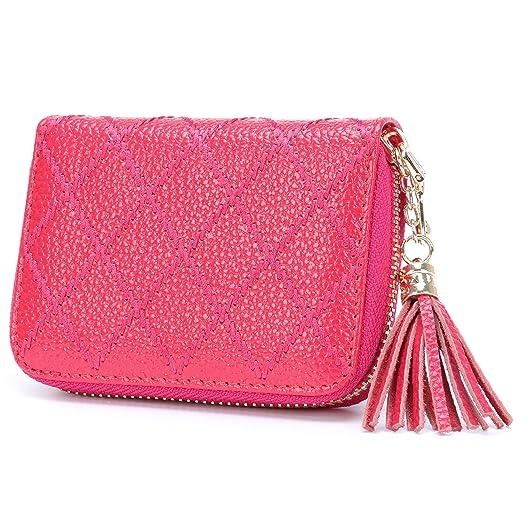 307d88da60fa Amazon.com: MuLier Genuine Leather Zipper Around Anti-RFID Tassels ...