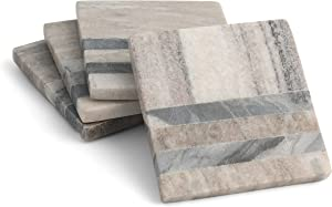 Thirstystone Drink Coasters, One Size, Gray Striped Marble Set