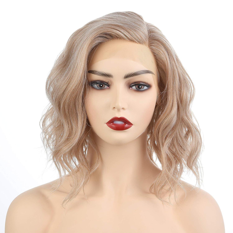 Amazon Com Onedor Shoulder Length Side Part Lace Front Short Wavy Hair Bob Wigs For Women M266 Ash Brown Platinum Blonde Blended Beauty