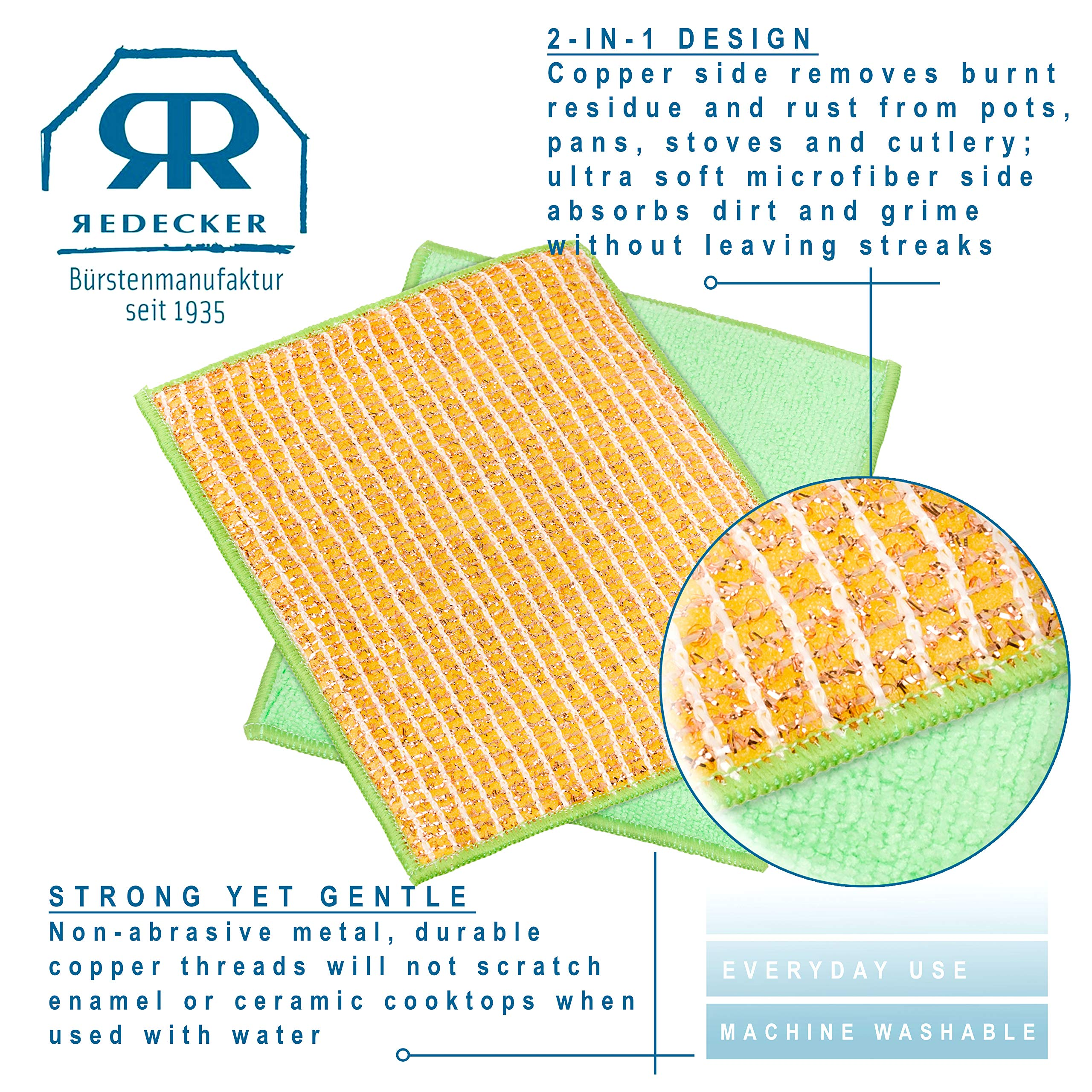 REDECKER Dual Sided Copper and Microfiber Cleaning Cloth, Set of 5, 7-3/4'' x 6'', Non-Abrasive Copper Effectively Scrubs, Absorbent Microfiber Wipes Surfaces Clean, Machine Washable, Made in Germany by REDECKER (Image #7)